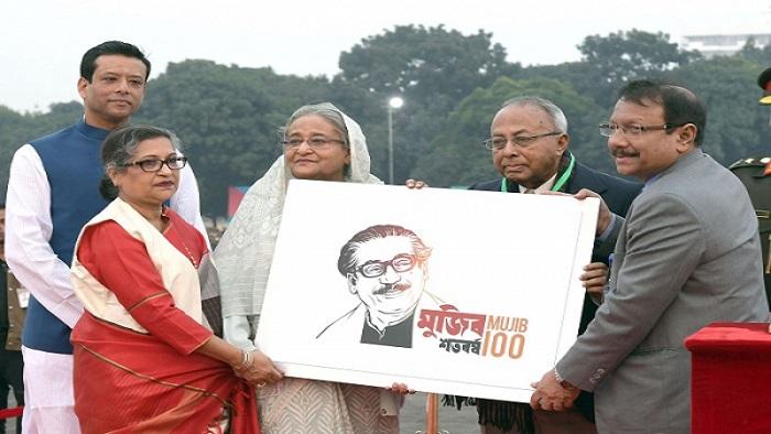 প্রধানমন্ত্রী শেখ হাসিনামুজিববর্ষের লোগো উন্মোচন করেন- ছবি সংগৃহীত