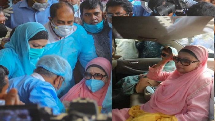 বুধবার (২৫ মার্চ) বিকেলে বিএসএমএমইউ হাসপাতাল থেকে মুক্তি পেয়ে বের হচ্ছেন খালেদা জিয়া। ছবি: সংগৃহীত